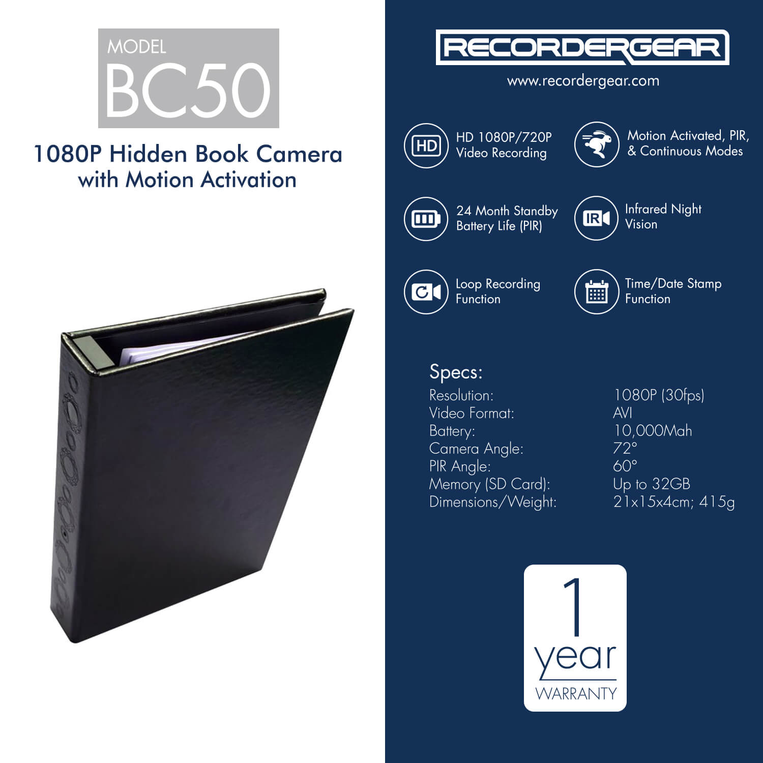 BC50 1080P Home Security Night Vision Motion Activated Hidden Spy Book Camera